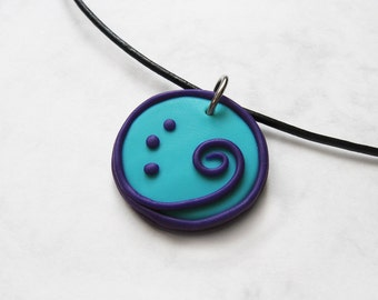 Cyan and Purple Spiral polymer clay pendant