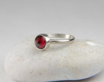 Garnet Ring Handmade Simple Ring Artisan Ring 925 Silver Ring Stacking Ring Dainty Ring January Birthstone Ring