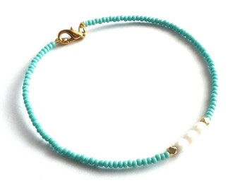 Turquoise and Gold Bracelet, Minimal Bracelet, Thin Bracelet, Beaded Friendship Bracelet, Dainty Bracelet, Tiny Bead Bracelet, Gift Under 20