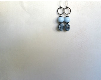 Cloud Earrings blue black by Nancelpancel on Etsy