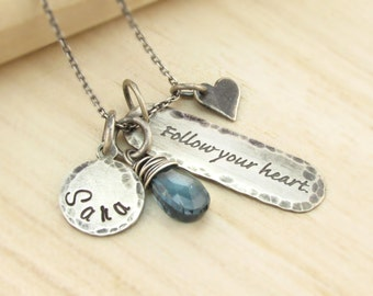 Personalized Graduation Necklace - Rustic Hand Stamped Jewelry - Antiqued Sterling - Gemstone Birthstone - Follow Your Heart - Name Disc