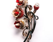 Vintage Flower Brooch Enamel Floral Pin  Deja Red White Reja 1940s