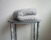 Silver Grey Throw Blanket, Crochet Blanket, Grey Blanket, Super Soft Throw Blanket