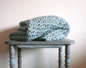 Chunky Crochet Blanket,  Wool Blanket,  Chunky Throw / Stone Blue Blanket