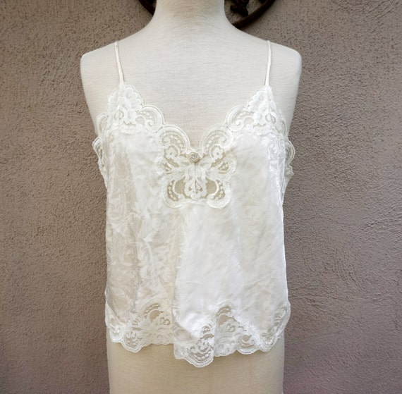 caraco soie lingerie dentelle blanche vintage bridal tank. Black Bedroom Furniture Sets. Home Design Ideas