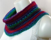 RESERVED FOR RJ: Colorful Hand Knit Cowl - Handmade Neckwarmer in Primary Colors, Striped Cowl, Knit Circle Scarf, Ready to Ship