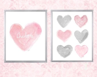 Pink and Gray Nursery, 8x10 Set of 2 Prints, Pink and Gray Decor, Pink and Gray Art, Pink Gray Wall Decor, Gray and Pink Baby's Room