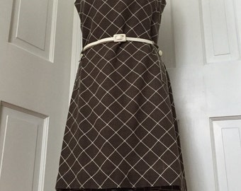 50's brown and white diamond belted shift dress