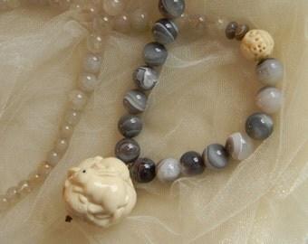 Bone bunny rabbits ball pendant w Botswana agate / rutilated quartz beads necklace , beaded jewelry , large beads , molded bone& resin ball