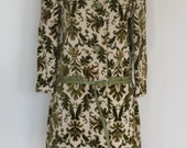 60's Samuel Robert Tapestry and Leather Mod Carpet Car Coat Size Small