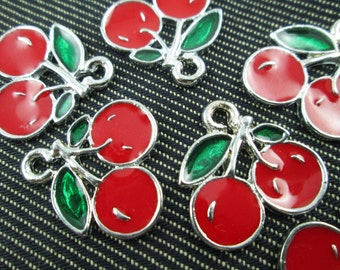 Cherry Charms - Enamel - 5 count CT - 0292