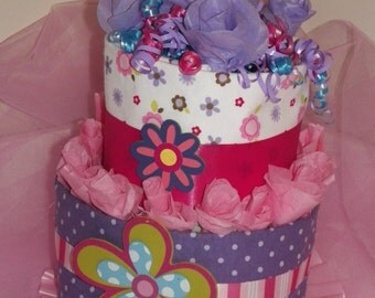 Girly Girl Diaper Cake