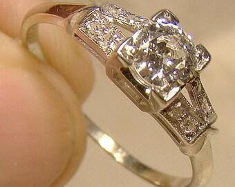 Art Deco 18K White Gold Diamonds Split Band Ring 1930s Appraisal 18 K Size 7-1/4