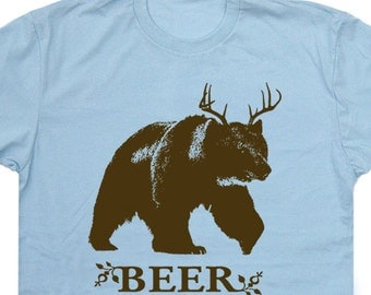Beer T Shirt Bear Deer Beer Shirts Funny Beer Saying T Shirts Party novelty Mens Womens Funny Tee Shirt