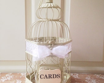 Wedding Birdcage, Card Box, Birdcage Card Holder, Small Bird Cage, Wishes/Advice/Love Notes/Cards, Baby Shower, Bridal Shower // BC01B