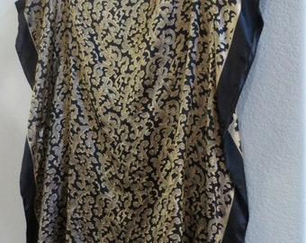 Elegant Dressing in Black and Gold Silk Tunic, Womens Silk Blouse, Silk Dress,  Silk Caftan