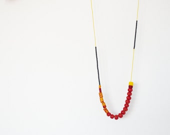 Ceramic Indie Red necklace Boho Metal free Beadwork Yellow necklace Polymer clay necklace Black necklace Spring necklace Asymmetric necklace