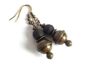 MIxed Metal Lava Rock Drop Earrings Boho Luxe Black Brass Copper Earrings Boho Earrings Black Lava Rock Dangle Earrings Gypsy Jewelry