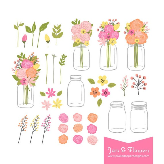 Mason Jar Flowers Clip Art Flower Bouquet in a Mason Jar