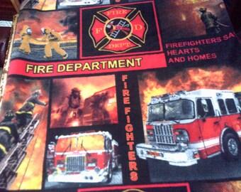 Firemen Firefighters Fire Truck Fleece Throw