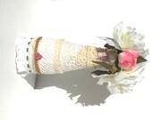 Porcelain Vase,  Silk Floral Vase, Altered Vase, Lace Vase, Wedding Vase , Vanity Vase, Shabby Chic Vase - by FairyLace Designs