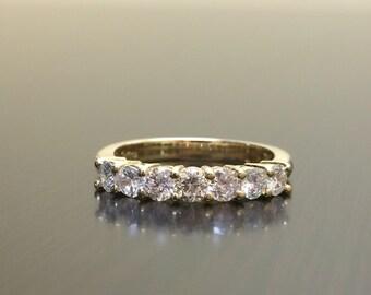 18K Yellow Gold Diamond Engagement Band - 18K Gold Diamond Wedding Band - 18K Gold Art Deco Diamond Band - Yellow Gold Diamond Band