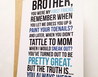 Brother Card / Brother Birthday Card / Funny Card / Card for Friend / Little Brother Card / Younger Brother Card