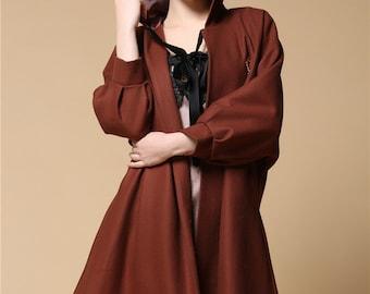 Brown Wool Harry Potter Magic Cape Coat Brown Witch Cloak Fairy Elf Dress Coat Puff Sleeve Free Size Spring Long Loose Hoodie Jacket Coat