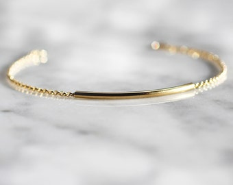 CURVED TUBE BAR Bracelet Simple and Delicate Modern 14k Gold Filled Bracelet Layering Jewelry Minimalist