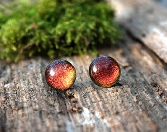 Red - copper glass stud earrings - dichroic glass earrings - glass earring studs - tiny stud earrings
