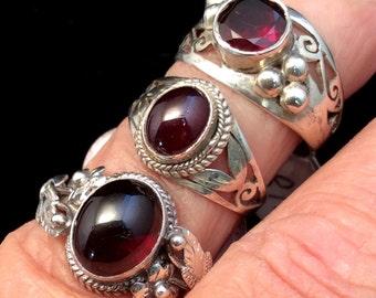 Size 6.5 Sterling Silver Ring. Garnet, Green Tourmaline or Lapis. free US ship