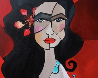 A tropical flower – Original Cubist acrylic painting on canvas. 54x65cm - 21x25,5 inches