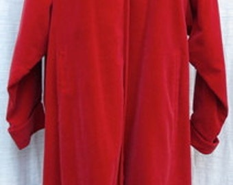 """1950s Vintage """"365"""" All-State  RED VELVET  OVERCOAT with two inside buttons"""
