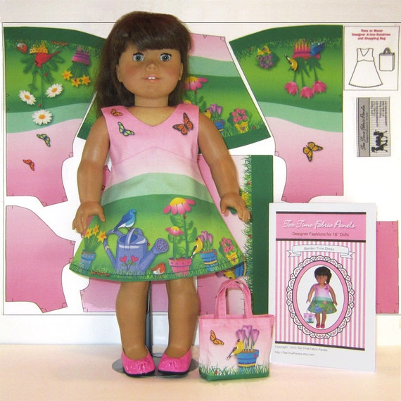 Easy 18 doll clothes kit garden dress bag by for Garden tools for 18 inch doll