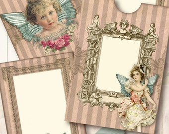 printable  Envelope +Card, winged Girl/ Digital Collage Sheet/ INSTANT DOWNLOAD
