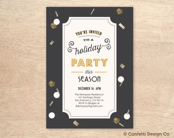 Black and Gold - Vintage Style - Custom Holiday Party Invitation - DIY Printing