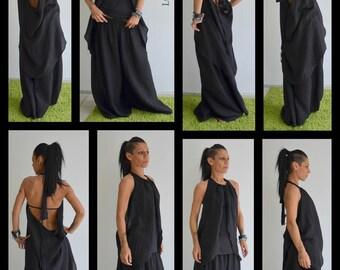 Linen pants, Black Linen Pants, Extravagant pants, Loose Linen Tunic, Loose Linen Pants, Asymmetrical pants, Plus size set By LOCKERROOM