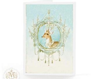 Deer Christmas card, snowflakes, reindeer card, deer antlers, white berries, blue and gold, Christmas decor, deer, holiday card, blank card