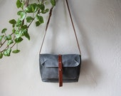 Waxed Canvas and Leather Satchel // Slate Blue Gray // Weather Resistant