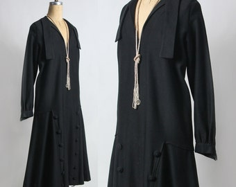SALE - Antique Wool Dress . Black . 1900s