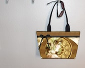Steampunk Art Nouveau Industrial Ivy Kiri Moth tote bag WIDE purse