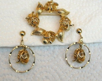 Brooch Earrings Sarah Coventry Vintage 70s Golden Tulip Signed Jewelry