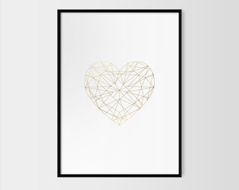 Gold Foil Print / Geometric Heart Poster / Scandinavian Interior Design / Wedding Gift / Bedroom Living Room Walls / Minimalist Design