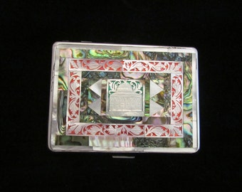 Vintage Cigarette Case EMU Cigarette Case Mother Of Pearl & Abalone 1950's Cigarette Case Mid Century Case Taj Mahal Business Card Case