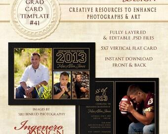 Graduation Invitation, Senior Boy Photoshop Templates, Boy Invitation, Photoshop Templates,  Templates, Graduation Cards, Graduation Card 41
