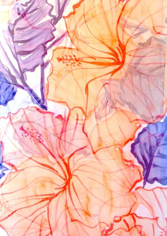 Hand Painted Silk Shawl Scarf, Pastel Orange Hibiscus, Floral Silk Wrap Shawl, Silk Chiffon Scarf. Approx 22x90 inches.