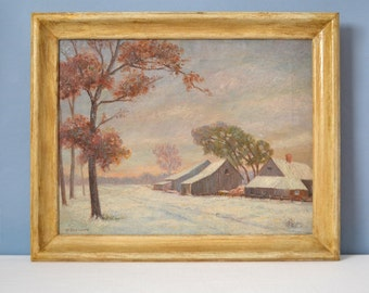 Original William Krullaars Oil on Canvas Snow Landscape Painting