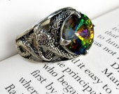Gothic Ring Swarovski Ring Snake Ring Silver Unisex Ring Adjustable Ring Gothic Jewelry