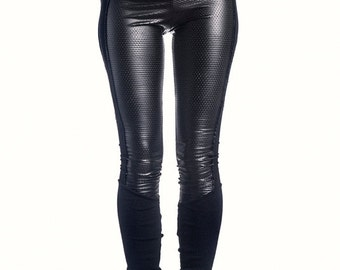 Leather Leggings, Sexy Black Leggings, Burningman Pants,Fauxs Leather,  Extra Long Leggings, Festival Clothing, Ninja, Gothic, Steampunk