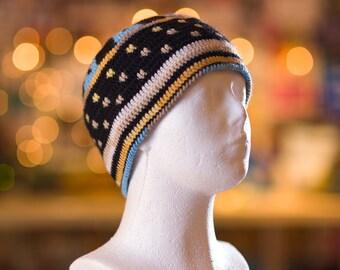 Black Mens hat, Solid Short Beanie Cap, crochet winter skullcap
